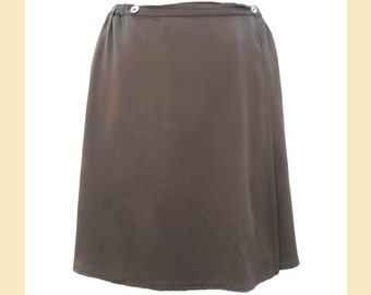 Vintage skirt by 'Ghost' in bronze satin viscose, short wrap-over style, UK size 10 to 12