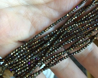 Black Spinel with AB Aurora Borealis Finish 2 mm Rondelles in Gold, Rainbow small accent spacer