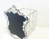 shabby chic basket, wire baket with chalkboard front