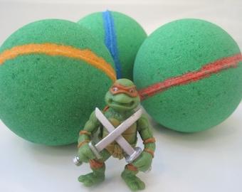 FREE SHIPPING - NINJA Turtle - Bath bombs with Toy Figure inside
