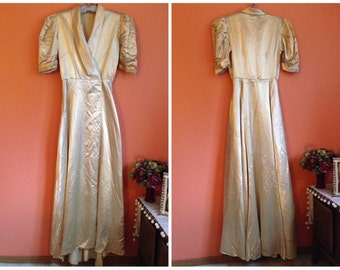 1930s Gold Liquid Satin Dressing Gown with Enormous Sweep / Needs Repair at Hem