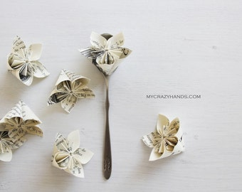 12 origami flowers || paper flower || wedding flower favors || party flowers || books || book flower -book pages
