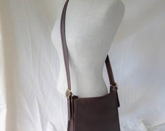 Vintage Leather Coach Studio Flap Cross body Purse Dark Brown 9144 FREE SHIPPING