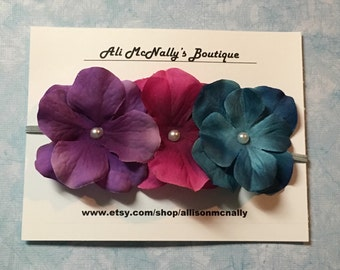 Hydrangea Trio Flower Headband, baby headband, flower headbands, baby photo prop
