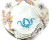Napkins White Hand Embroidered Blue Swans (6)