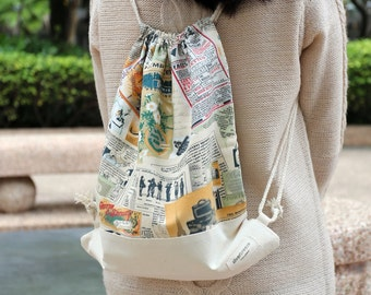 Drawstring backpack/ Cotton backpack/ Drawstring bag/ handmade backpack/ Gym bag/ Swim bag ~ Newspaper (B52)
