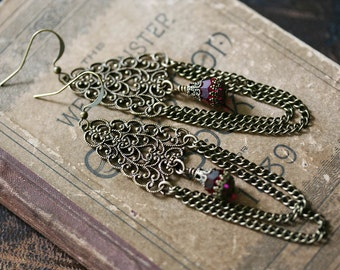 AUTUMN CASCADE chandelier filigree Victorian Renaissance earrings with draping chains, ready to ship