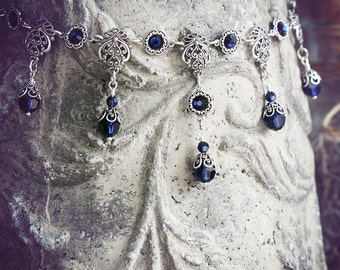 JOLIESSE Victorian Bridal Choker, Heirloom Filigree Gothic Renaissance Bridal Necklace with Deep Blue Crystals, Custom Options Available
