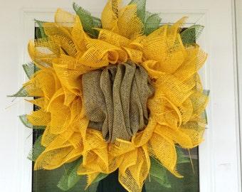 Sunflower wreath/poly mesh sunflower/sunflower door decor/sunflower mesh wreath