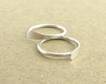 20 Gauge Argentium Silver Cartilage Hoop Earrings, Sterling Silver Ear Huggers, Eco-Friendly Hoops, Recycled Silver Hoops, Helix Piercing