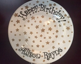 Twinkle, Twinkle Little Star Plate - Birthday Cake Plate - Personalized Happy Birthday Plate - Hand Painted Plate - Personalized Kids Plate