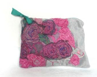 Embroidered silk velvet purse - hand embroidered velvet pouch - grey silk velvet purse - appliqued velvet purse - appliqued rose purse