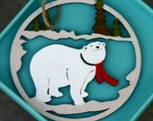 Custom order for Nukkepoksy - Laser cut wood ornament, painted, polar bear and scarf