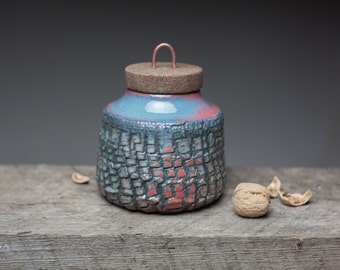 red turquoise storage jar box with cork