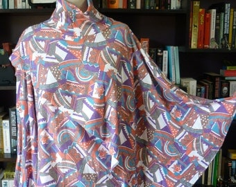 Turtleneck TOP with attached cape. 1980s Retro Boho Abstract Primitive. Plus Size 20. Skivvy with asymmetrical hem, long sleeves.