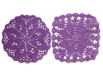 2 Purple Crochet Vintage Doilies hand dyed  Doilies