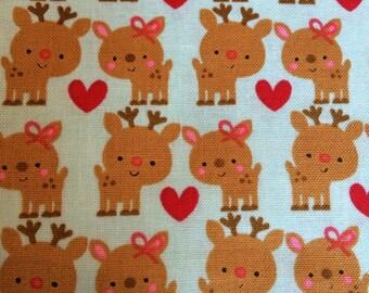 Santa Express Deer fabric in Blue by Riley Blake