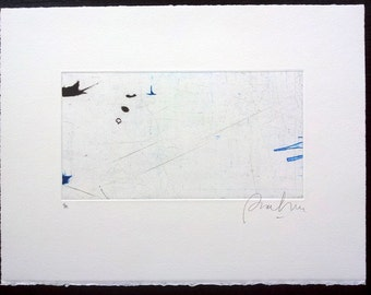Dry Point and Etching Black and Blue. Minimalist Drawing. Abstract Original Printmaking. Abstract Landscape Print. Paper Art.