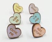 Valentines Candy Heart Earrings | Laser Cut Jewelry | Hypoallergenic Studs | Wood Earrings