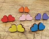 Colorful Heart Earrings| Laser Cut Jewelry | Hypoallergenic Studs | Wood Earrings