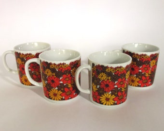 Mod Floral Coffee Mug Set 1970s Kitsch Daisy Orange Yellow Brown Takahashi