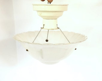 Art Deco Three Chain Light Fixture, Opalescent Glass Shade, Vintage Semi Flush Ceiling Light