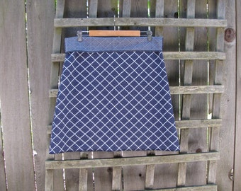 Navy Blue White Geometric Aline Skirt/ Funky Retro Vintage Polyester Stretch Knit Knee Length Skirt XL