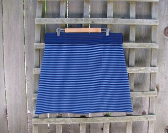 Retro Blue Checked Aline Skirt/ Funky Vintage Polyester Stretch Knit Knee Length Skirt XXL