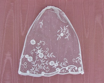 Antique lace panel, Princesse lace panel , French lace with floral applique on mesh background