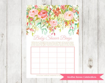 Baby Shower Bingo | Floral Baby Shower Game | Garden Party Sprinkle Printable