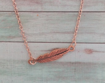 Rose Gold Feather Bar Necklace. Minimalist Necklace. Free Spirit. Feather Jewelry. Rose Gold. Gift for Her. Yogi Festival. Country jewelry