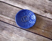 Indigo Dish - Handmade Trinket Dish, stamped with Tropical floral pattern.  Jewelry holder, ring holder, engagement or wedding gift!
