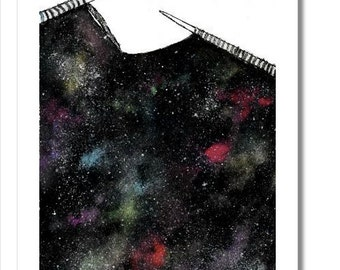 knitted galaxy watercolor print