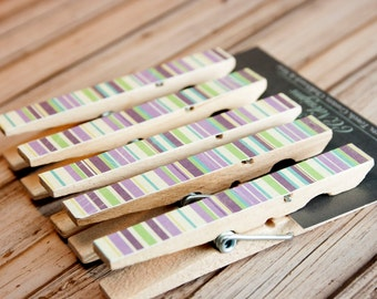 Green and Purple Stripe Clothespin Magnets - Striped Magnet Set