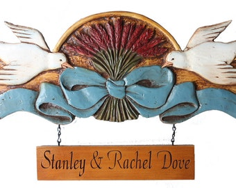 Country Dove Door Topper with Custom Hanging Sign