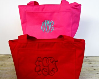 Personalize monogrammed lunch tote, insulated lunch box, insulated lunch bag, insulated can carrying case, for men and women