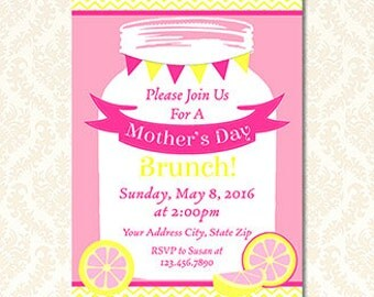 Mothers Day Brunch Invitation, Printable Mother's Day Luncheon Invites, Lemonade, Pink and Yellow, Mason Jar, Mothers Day Lunch, DIY Words