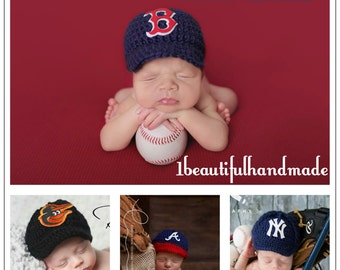 Baby Baseball Team Cap -- Newborn Baseball cap ,Baseball photo prop -- Crochet baseball hat,Coming Home Outfit-- --Choose your team