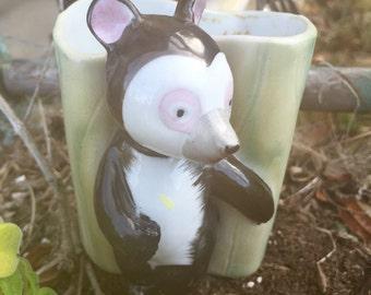 Vintage Porcelain Panda Planter: Nippon Yoko Boeki Japan