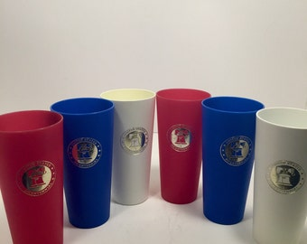 Set of 6 Plastic Bicentennial Tumblers in Red, White and Blue