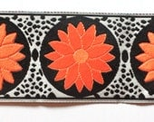"Woven Jacquard Ribbon - Daisy Dot Flower 1""  Black, Orange and Coral"
