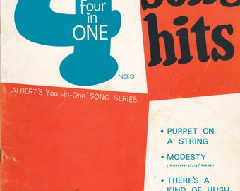 4 in One Song Hits- Vintage 1960s Music Book - Piano Arrangements