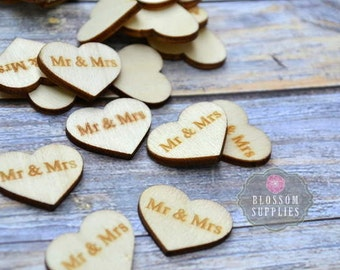 "FLATBACK - Wooden Heart ""Mr & Mrs"" Embellishments Confetti 1""x 0.75"" - Flower Centers - Wedding Garter Embellishment - Wood Supplies"