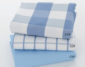 Cotton Canvas Fabric, Gingham on Pale Blue Cotton, 3 colors for Choice -1/2 yard QT925