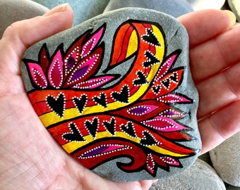 burning desire / painted rocks / painted stones / rock art /paperweights / hearts on stones / hippie / tribal / and painted rocks