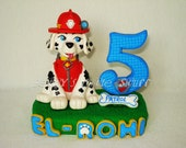 Paw Patrol Marshall Inspired theme Cake Topper with name & number