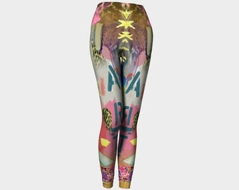 Watercolour Flowers and Leaves Leopard Print Fashion Leggings - Yoga - Active Wear - Fashion - 20% Off Today