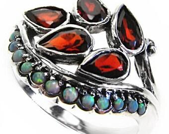 Platinum Garnet & Opal Ring,  PT900, Vintage Platinum Ring, Women's Opal Pearl Ring, Antique Garnet Opal Ring, Custom R258
