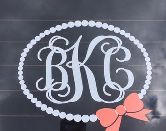 Pearl Monogram Decal Car Decal Car Decal for Women Preppy Pearl Personalized Decal Car Decal Southern Prep Vine Monogram Decal with Bow