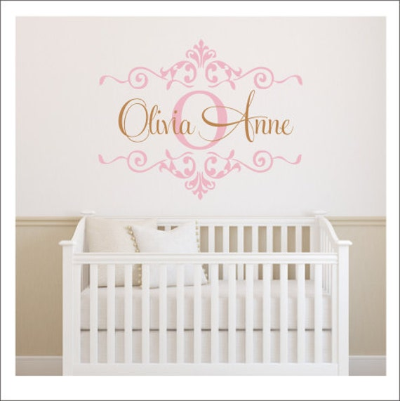 Girls Monogram Decal Nursery Wall Decal Girls Bedroom Decal - Wall decals nursery girl